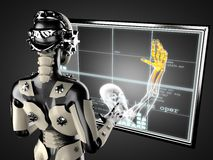 Robot woman manipulating hologram displey Royalty Free Stock Photos
