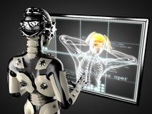 Robot woman manipulating hologram displey Stock Image
