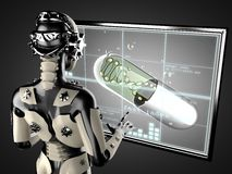 Robot woman manipulating hologram displey Stock Images