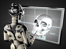 Robot woman manipulating hologram displey Royalty Free Stock Image