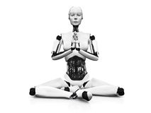 Robot woman meditating. A robot woman sitting on the floor and meditating, eyes closed. White background Stock Photography
