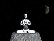 Robot woman meditating in space. Royalty Free Stock Image