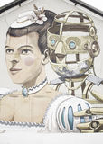 Robot with woman in period Stock Photography