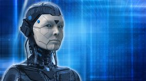 Robot Woman, Sci-fi Android Female Artificial Intelligence Background 3d Render Stock Photos
