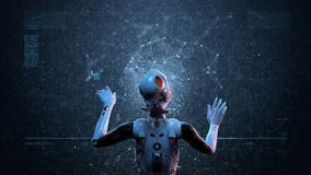 Robot woman, sci-fi woman vector illustration