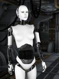 Robot woman in sci fi corridor. Stock Photos