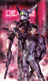 Robot and woman soldier. A robot and a soldier woman in 3d Stock Photos