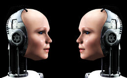 Robot Women 3. An image of some heads of technologically robotic women who have been duplicated, or cloned Royalty Free Stock Images