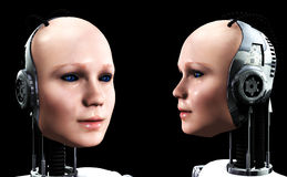 Robot Women 4. An image of some heads of technologically robotic women who have been duplicated, or cloned Royalty Free Stock Images