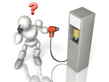 Robot is wondering how he can use the next generation energy power supply. This is a computer generated image,on white background Stock Photography