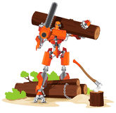 Robot Woodcutter Character Stock Photos
