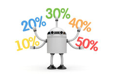 Robot with word sale Royalty Free Stock Images
