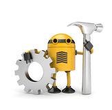 Robot worker with gear. Manual worker. Isolated on white Stock Image