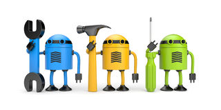 Robot workers. New technology metaphor. New technologies metaphor. Isolated on white Royalty Free Stock Image