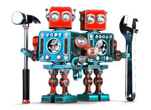 Robot workers with tools. Isolated. Contains clipping path Royalty Free Stock Photos
