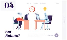 Robot Working All Time Landing Page. Character Sleeping on Workplace. Machine can Process Information Constantly Without Stopping. Website or Web Page. Flat royalty free illustration