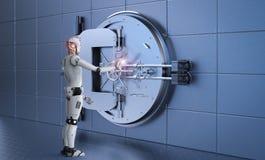 Robot working with bank vault. 3d rendering humanoid robot working with bank vault Royalty Free Stock Image