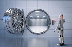 Robot working with bank vault. 3d rendering humanoid robot working with bank vault Royalty Free Stock Photo