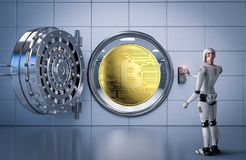 Robot working with bitcoin and bank vault. 3d rendering humanoid robot working with bitcoin and bank vault Royalty Free Stock Image