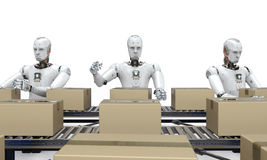 Robot working with carton boxes. 3d rendering robot working with carton boxes on conveyor belt vector illustration
