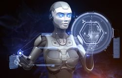Robot is working with data stock illustration