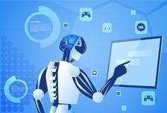 Robot Working Digital Screen Or Monitor Modern Technology And Artificial Intelligence Concept. Vector Illustration Stock Photos