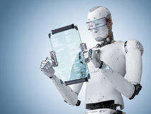 Robot working with digital tablet Royalty Free Stock Images