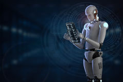 Robot working with digital tablet. 3d rendering humanoid robot working with digital tablet Royalty Free Stock Photo