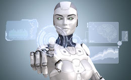 Robot is working with high tech touchscreen Royalty Free Stock Photo