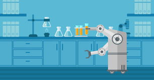 Robot working in a laboratory with a test tube. Robot conducting experiments in a laboratory. Robot working in a laboratory with a test tube. Robot manipulating royalty free illustration
