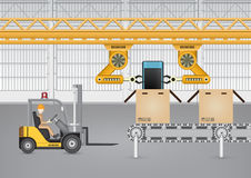 Robot. Working with mobile phone in factory Royalty Free Stock Images