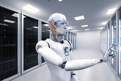 Robot working in server room Royalty Free Stock Images