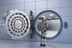 Free Robot Working With Bank Vault Royalty Free Stock Photo - 99861045