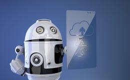 Robot works with cloud computer Stock Photos