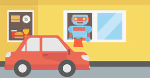 Robot works in a fast food restaurant. Royalty Free Stock Image