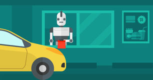 Robot works in a fast food restaurant. Royalty Free Stock Photos