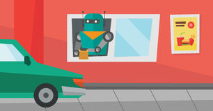Robot works in a fast food restaurant. Royalty Free Stock Images