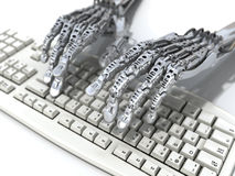 Robot works at keyboard. Futuristic and scince illustration Royalty Free Stock Photography
