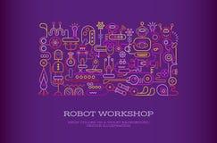 Robot Workshop vector banner Stock Image