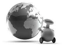Robot and World globe Royalty Free Stock Photo