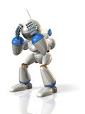 The robot is worried. Royalty Free Stock Photo