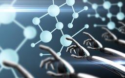Robot wręcza wzruszającą molekuły formułę Zdjęcie Stock