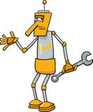 Robot with wrench cartoon illustration Royalty Free Stock Photo