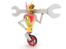 Robot and a wrench. Image of the robot, it is holding a wrench, on a white background Stock Image