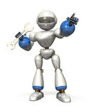 Robot with a wrench Stock Photo
