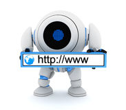 Robot and www address. (done in 3d Stock Images