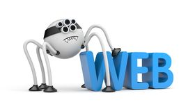 Robot and WWW text. Robot spide and WWW 3D text Stock Photo