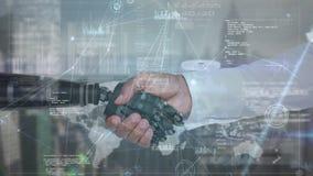 Robot y brazo humano que sacuden las manos almacen de metraje de vídeo