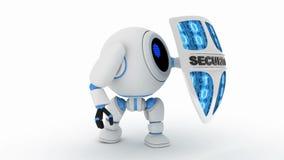 Robot y escudo de la seguridad, lazo inconsútil y canal alfa 3d rinden metrajes