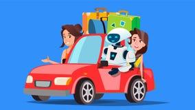Robot y gente que viajan en coche con vector de las maletas Coche autónomo Ilustración aislada